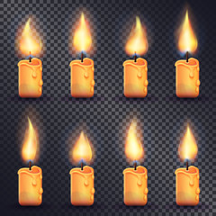 Candles. Fire Animation on Transparent Background
