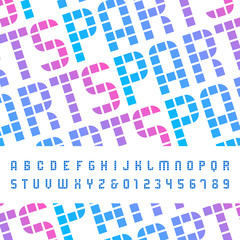Mosaic font. Vector alphabet with latin letters and numbers.
