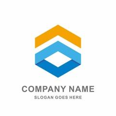 3D Geometric Triangle Hexagon Cube Space  Architecture Interior Construction Business Company Stock Vector Logo Design Template