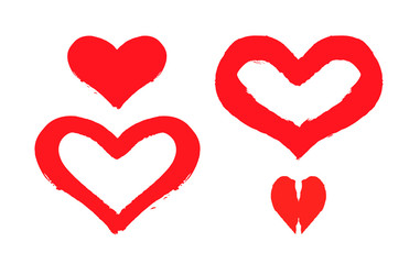 Vector valentines day hand drawn design elements. Modern red hearts.