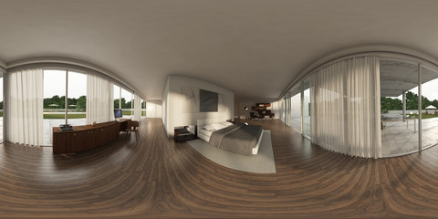 360 panorama VR , 3d rendering of interior modern bed-room. 3D i
