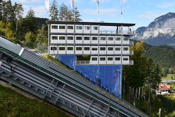Pressbox at Bergisel Ski Jump in Innsbruck, Austria