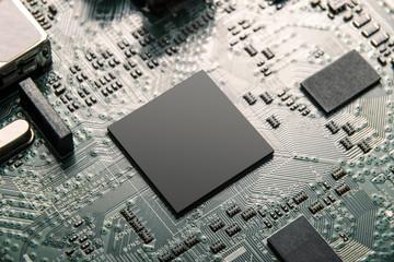 central processor unit on mainboard closeup