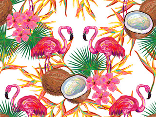 Summer jungle pattern with with flamingo, coconut, palm leaves and flowers vector background. Floral background. Perfect for wallpapers, pattern fills, web page backgrounds, surface textures, textile
