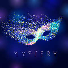 Mystery celebrating vector mask. Shining lighting holiday logo. Gold and blue colored decorating accessory on abstract water background. Greeting card idea.