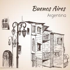 Buenos Aires cityscape Caminito. Argentina. Sketch.