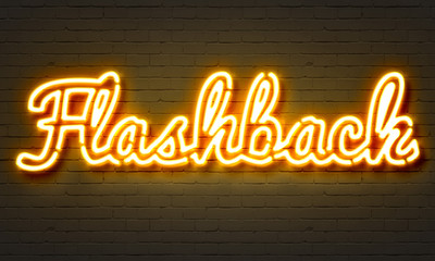 Flashback neon sign on brick wall background. Wall mural