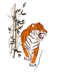 Angry tiger and bamboo trees. Traditional Japanese ink painting sumi-e. Vector isolated on white.
