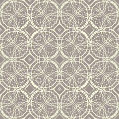 Pattern with decorative shapes in organic brown