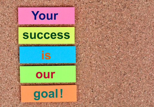 Text Your success is our goal on notes
