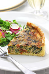 homemade spinach bacon quiche, florentine quiche, french food
