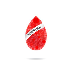 Hemophilia. World Hemophilia Day. Red drop of blood. Vector illustration on isolated background