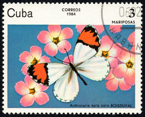 UKRAINE - CIRCA 2017: A stamp printed in Cuba, shows image of a butterfly Mariposas close-up, circa 1984