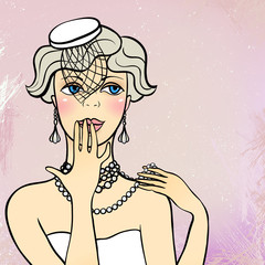 Vector illustration of a flapper girl.