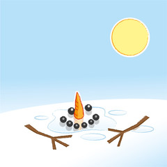 Happy Snowman Melting in Pool of Water in Warm Sunshine