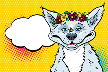 Wow pop art dog. Funny happy surprised dog  with wide cute smile, flowers on his head looking at butterfly and empty speech bubble. Vector illustration in retro comic style. Party invitation poster.