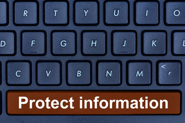 Protect information words on computer keyboard button