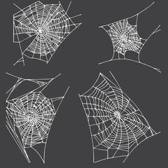 Spider hand drawn net set.