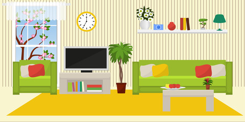 The interior of the living room. Flat style. Vector illustration