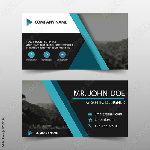 Blue corporate business card name card template horizontal simple ...