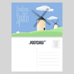 Mills in Spain vector postcard template