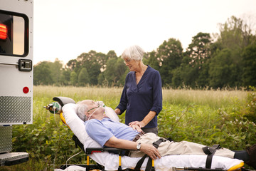 Senior woman talking to patient
