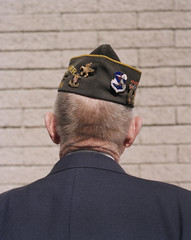 Rear view of elderly Korean War veteran