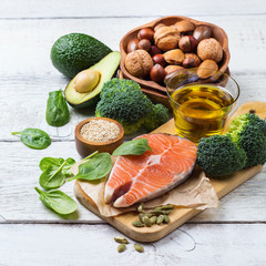 Selection of healthy fat sources food, life concept