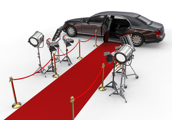 HIGH CLASS LIMOUSINE with red carpet and spotlights / 3D render image representing a HIGH CLASS LIMOUSINE with red carpet and spotlights