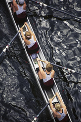 Overhead view of female crew racers rowing scull boat