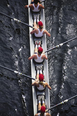 Overhead view of female crew racers rowing  shell boat