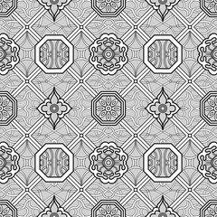 Seamless black and white geometric pattern. Chinese mativam. Seamless geometric pattern. Vector illustration.Geometric pattern for the laser cutting.