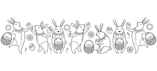 Vector Happy Easter border with outline easter rabbit, egg and basket isolated on white background. Cartoon elements with cute bunny and eggs in contour style for coloring book and greeting design.