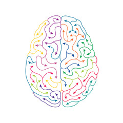 Creative human brain line art illustration