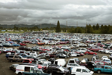 Elevated view of cars in junkyard