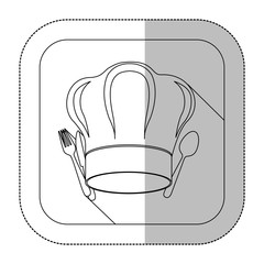 symbol fork and knife with chef hat icon, vector illustration
