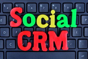 Social CRM words on computer keyboard