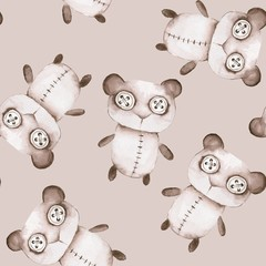 Seamless pattern with hand made toys. Watercolor creepy Teddy bear