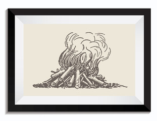 Vintage Retro Vector Drawing Illustration of a Fire Fireplace in a Camp in a Frame. Perfect for Web Design, T-Shirt Graphics, Shirts, Scrapbooking, Logos, Badges and Insignia.