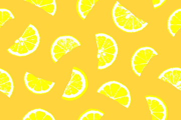 Lemon pattern. Seamless pattern. Lemon pattern illustration. Fresh lemon slices on white background. Lemon seamless background. Lemon pieces on white background. Lemon slices background