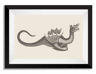 Vintage Retro Vector Drawing Illustration of a Dragon with Wings in a Frame. Perfect for Web Design, T-Shirt Graphics, Shirts, Scrapbooking, Logos, Badges and Insignia.