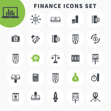 25 finance icons set, investing, shares, stocks, funds, assets, investment, income, financial instruments pictograms over white