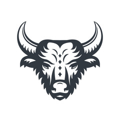 buffalo head logo element isolated over white