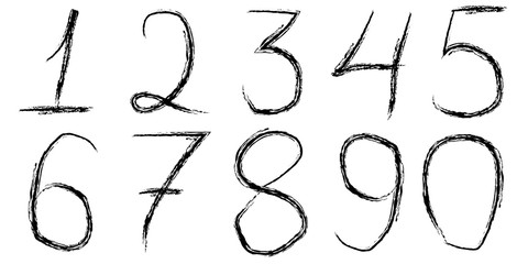 font handwritten digits brush hand
