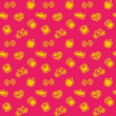 fitness pattern, bright seamless background with icons, vector illustration
