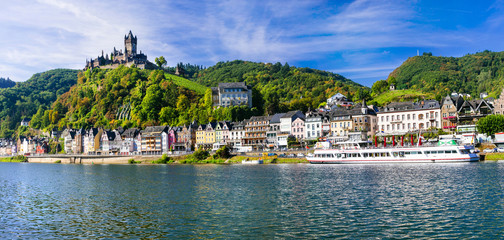 Landmarks of Germany - medieval Cochem town, famous for Rhine river cruises