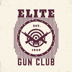 Gun club vintage emblem with automatic guns and target, t-shirt print
