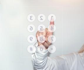 Female finger presses the virtual button