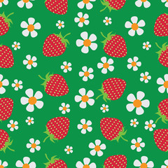 Flowers and berries. Strawberry. Natural product. Seamless pattern on a dark green background. The farmers market, chefs, cooks.