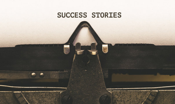 Succes Stories, Text on paper in vintage type writer from 1920s